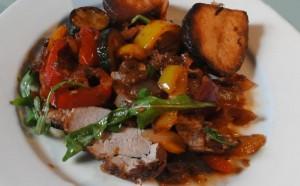 Pork Tenderloin with Tomato, Pepper, Ginger & Apple Medley